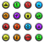 Fire brigade icon set. Fire brigade icons on color round glass buttons for your design Royalty Free Stock Photo