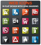 Fire brigade icon set. Fire brigade icons set in flat design with long shadow Stock Photo