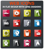 Fire brigade icon set. Fire brigade icons set in flat design with long shadow Stock Photos