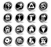 Fire brigade icon set. Fire brigade icons on stylish round chromed buttons Stock Image