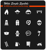 Fire brigade icon set. Fire brigade  icons for user interface design Royalty Free Stock Photo