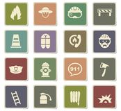 Fire brigade icon set. Fire brigade  icons for user interface design Royalty Free Stock Images