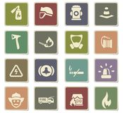 Fire brigade icon set. Fire brigade  icons for user interface design Stock Photo