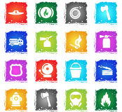 Fire brigade icon set. Fire brigade vector web icons in grunge style for user interface design Stock Photo