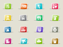 Fire brigade icon set. Fire brigade web icons on color paper bookmarks Royalty Free Stock Image