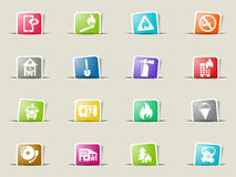 Fire brigade icon set. Fire brigade web icons on color paper bookmarks Stock Photos