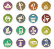 Fire brigade icon set. Fire brigade web icons on color paper labels Stock Photos