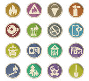 Fire brigade icon set. Fire brigade web icons on color paper labels Royalty Free Stock Images