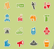 Fire brigade icon set. Fire brigade web icons on color paper stickers for user interface Royalty Free Stock Photo