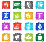 Fire brigade icon set. Fire brigade web icons in grunge style for user interface design Stock Photos