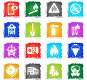 Fire brigade icon set. Fire brigade web icons in grunge style for user interface design Stock Photo