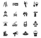 Fire brigade icon set. Fire brigade web icons for user interface design Royalty Free Stock Image