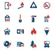 Fire brigade icon set. Fire brigade web icons for user interface design Stock Photos