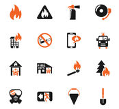Fire brigade icon set. Fire brigade web icons for user interface design Stock Images