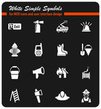 Fire brigade icon set. Fire brigade white simple symbols for web icons and user interface design Stock Image
