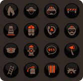 Fire brigade icons set. Fire brigade color vector icons on dark background for user interface design vector illustration