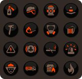 Fire brigade icons set. Fire brigade color vector icons on dark background for user interface design stock illustration