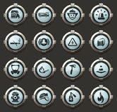 Fire brigade icons set. Fire brigade vector icons in the stylish round buttons for mobile applications and web stock illustration
