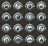 Fire brigade icons set. Fire brigade vector icons in the stylish round buttons for mobile applications and web royalty free illustration