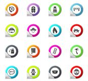 Fire brigade icons set. Fire brigade pointer on the color icons for your design Stock Images