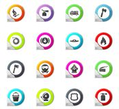 Fire brigade icons set. Fire brigade pointer on the color icons for your design Royalty Free Stock Image