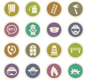 Fire brigade icons set Stock Image