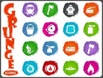 Fire brigade icons set. For web sites and user interface Royalty Free Stock Photos