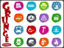 Fire brigade icons set Royalty Free Stock Images