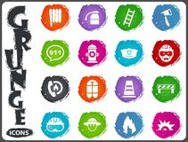 Fire brigade icons set. For web sites and user interface Stock Photos