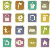 Fire brigade icons set Stock Photos