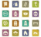 Fire brigade icons set. For web sites and user interface vector illustration