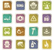 Fire brigade icons set. For web sites and user interface stock illustration