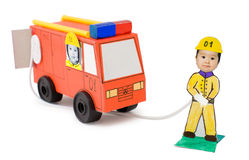 Fire brigade, kid's cardboard handicraft Royalty Free Stock Photos