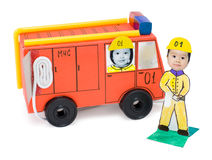 Fire brigade, kid's cardboard handicraft Stock Photos