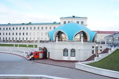 The fire brigade leaves the fire station. The fire-fighting vehicle leaves the fire station in the Kazan Mosque Royalty Free Stock Photo