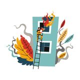 Fire brigade, man firefighter climbing on ladder to save life. Of person in building vector. Flames coming out of window, male wearing protective costume and stock illustration