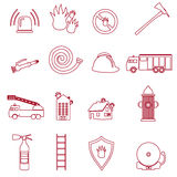 Fire brigade outline red icons set Stock Photo