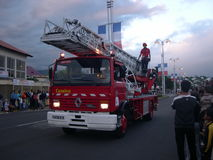 Fire brigade on parade. On Republic day on Reunion Island Stock Images