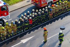Fire Brigade. Reports at the and of fire drill Railway Accident 2016 in Maribor, Slovenia Stock Image
