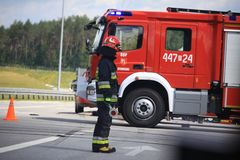 Fire brigade in Germany. Fire brigade on road Germany, car crash Royalty Free Stock Photo