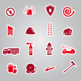 Fire brigade stickers set Royalty Free Stock Photography