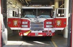 Fire brigade. Truck ready policeman Stock Photo