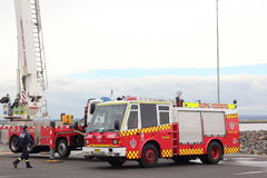 Fire brigade trucks. Fire drill for the Fire Brigade of Australia (New South Wales&#x29 Stock Image