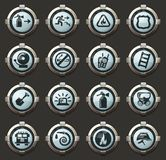 Fire-brigade icon set. Fire brigade vector icons in the stylish round buttons for mobile applications and web royalty free illustration