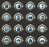 Fire brigade icons set. Fire brigade vector icons in the stylish round buttons for mobile applications and web vector illustration