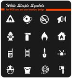 Fire brigade icon set. Fire brigade vector icons for web and user interface design stock illustration