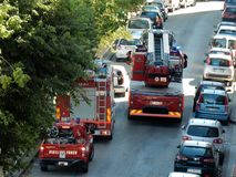 Fire Brigade vehicles to the rescue. Benevento, Campania, Italy - 16th July 2017: fire brigade vehicles during a rescue intervention in the city Stock Photography
