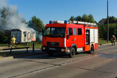 Fire brigade at work. Royalty Free Stock Photo