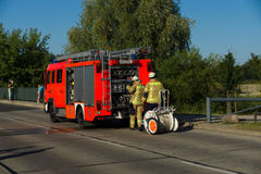 Fire brigade at work. Royalty Free Stock Images