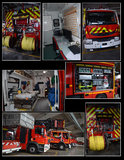 Fire brigades equipment. French fire brigades equipment, with high intervention and medical room Royalty Free Stock Image
